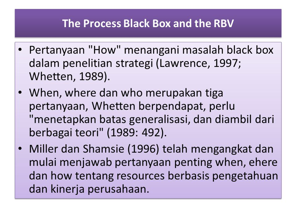 The Process Black Box and the RBV