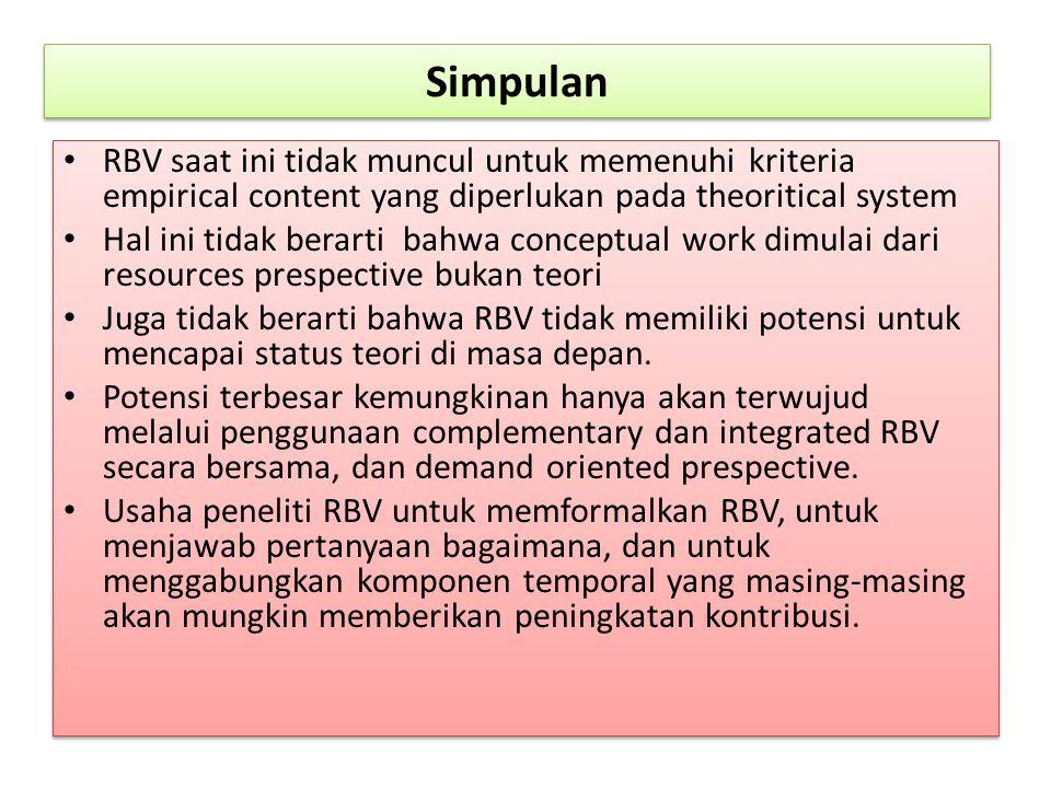 Simpulan RBV saat ini tidak muncul untuk memenuhi kriteria empirical content yang diperlukan pada theoritical system.