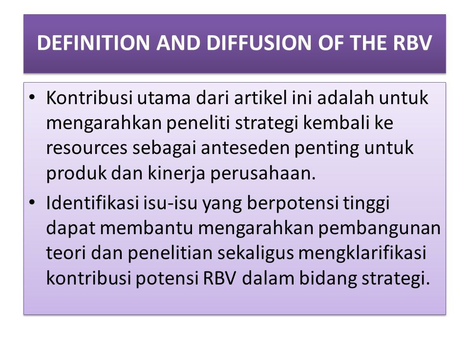 DEFINITION AND DIFFUSION OF THE RBV