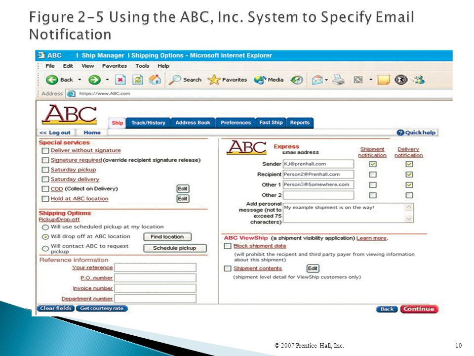 Figure 2-5 Using the ABC, Inc. System to Specify Email Notification