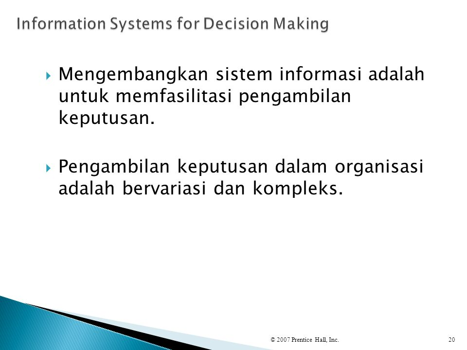 Information Systems for Decision Making