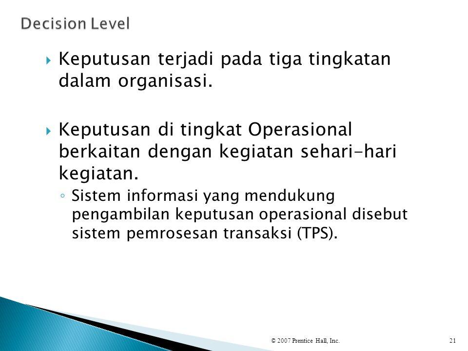 Keputusan terjadi pada tiga tingkatan dalam organisasi.