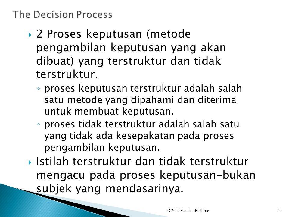 The Decision Process 2 Proses keputusan (metode pengambilan keputusan yang akan dibuat) yang terstruktur dan tidak terstruktur.