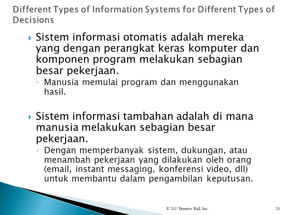 Different Types of Information Systems for Different Types of Decisions