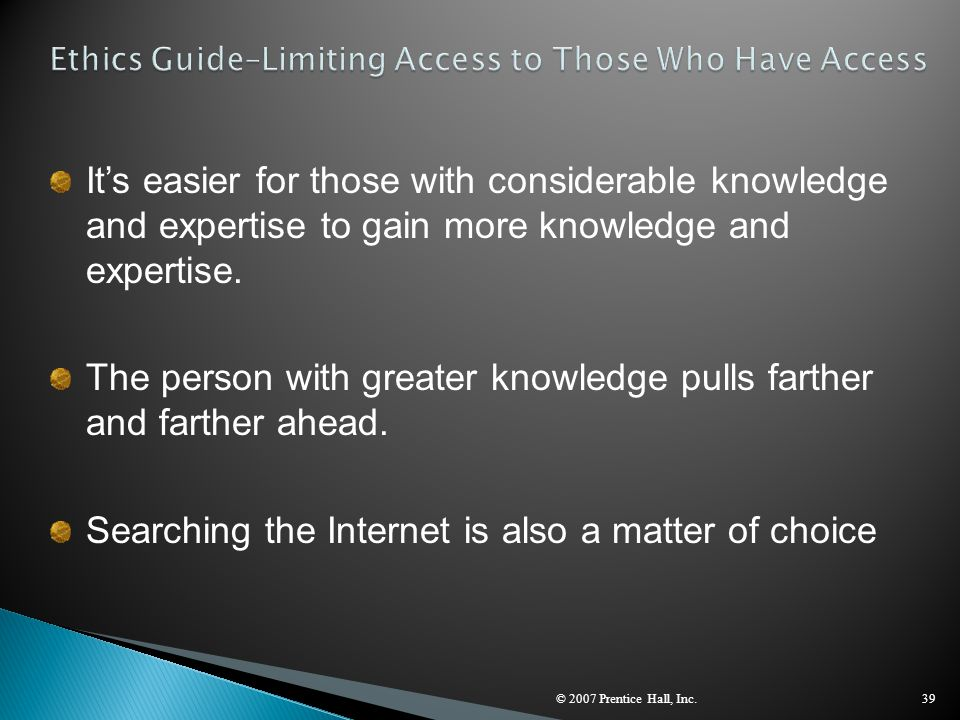 Ethics Guide–Limiting Access to Those Who Have Access