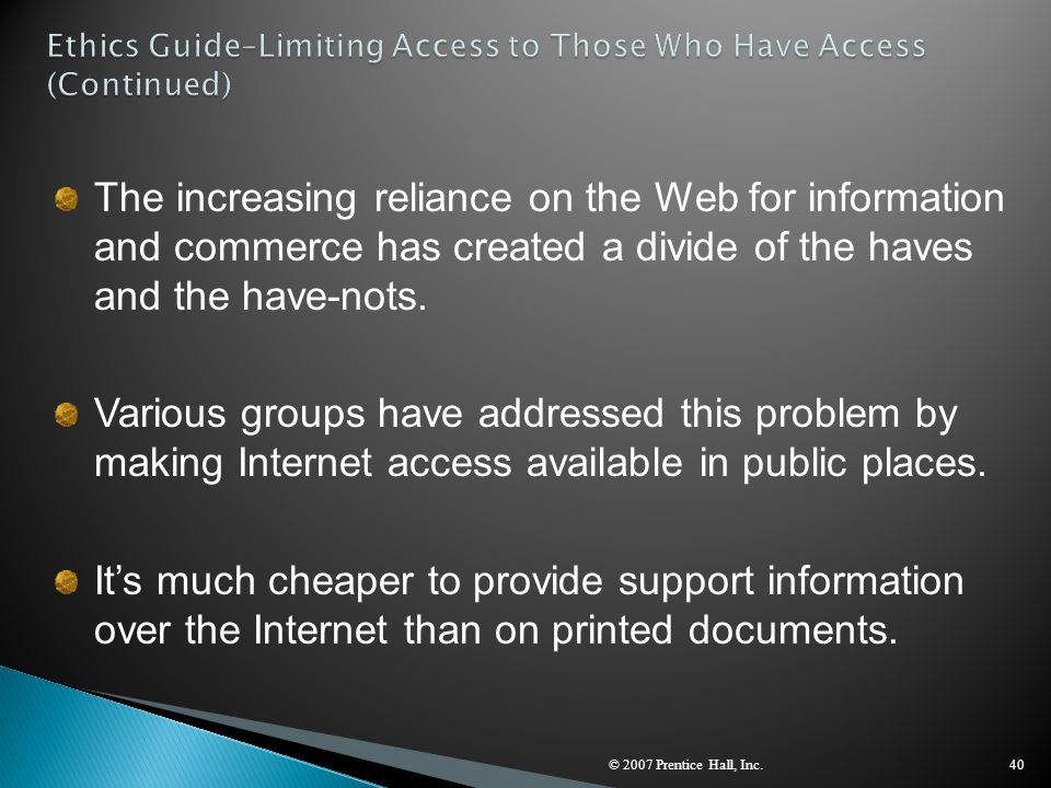 Ethics Guide–Limiting Access to Those Who Have Access (Continued)