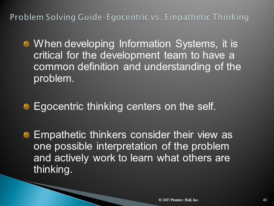 Problem Solving Guide–Egocentric vs. Empathetic Thinking