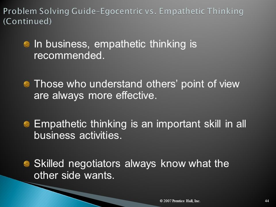 Problem Solving Guide–Egocentric vs. Empathetic Thinking (Continued)