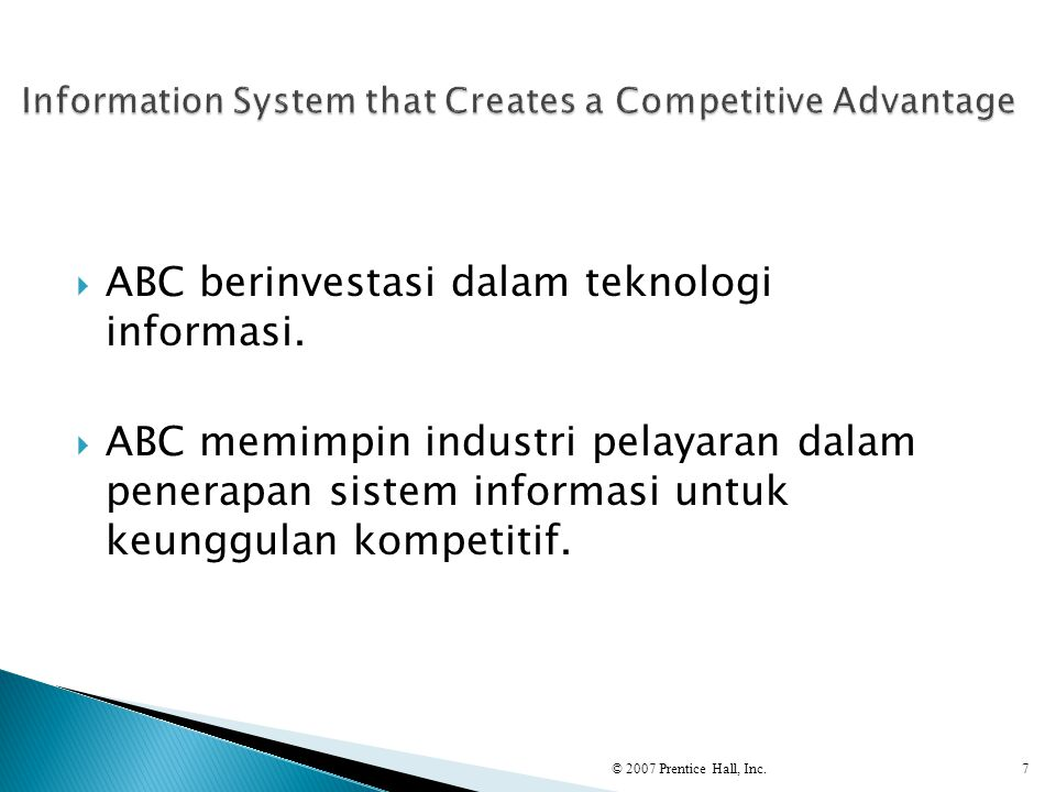Information System that Creates a Competitive Advantage