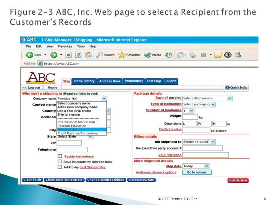 Figure 2-3 ABC, Inc. Web page to select a Recipient from the Customer's Records