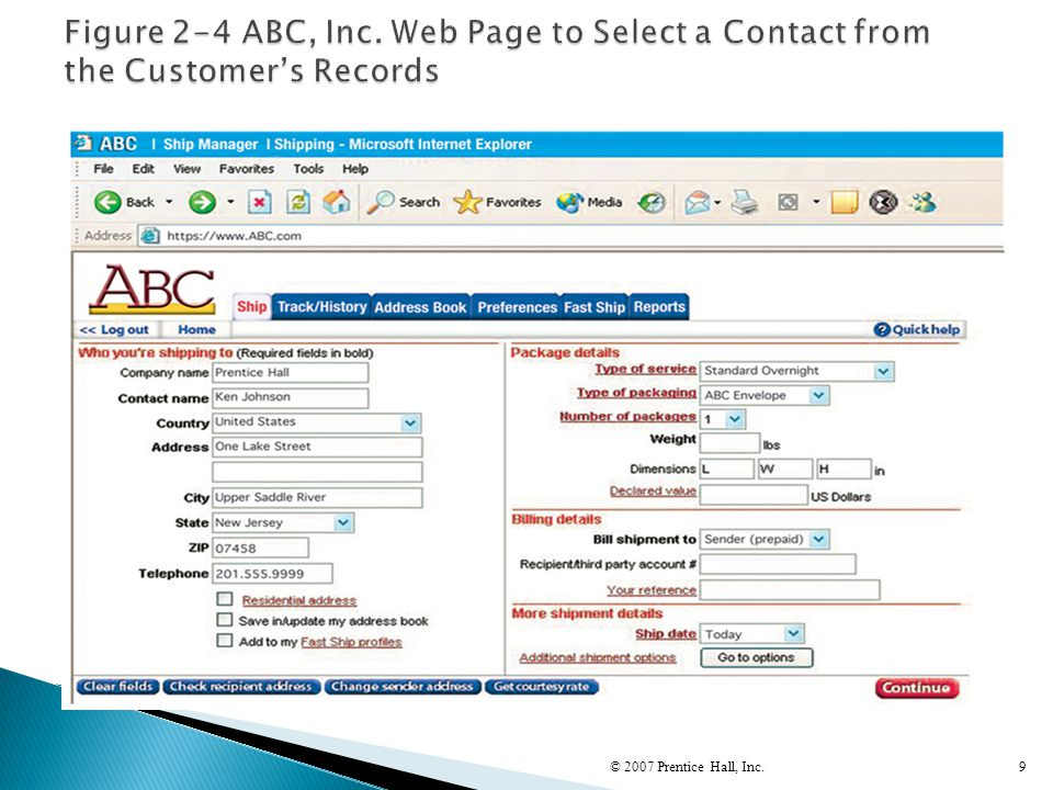 Figure 2-4 ABC, Inc. Web Page to Select a Contact from the Customer's Records