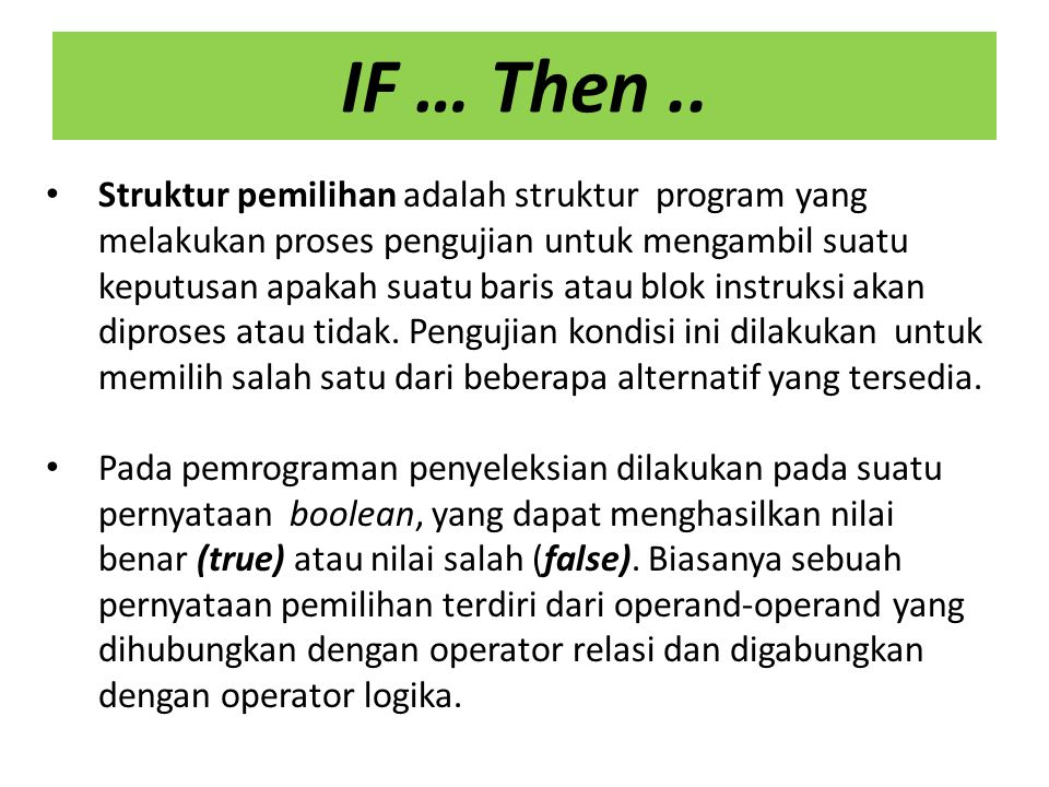 IF … Then ..