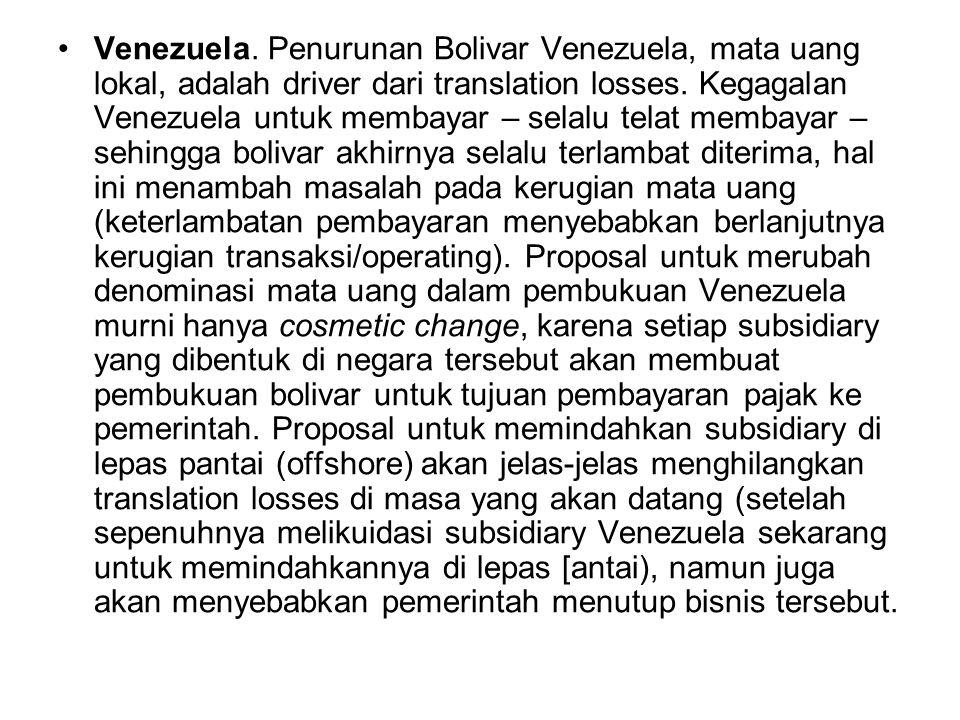 Venezuela. Penurunan Bolivar Venezuela, mata uang lokal, adalah driver dari translation losses.