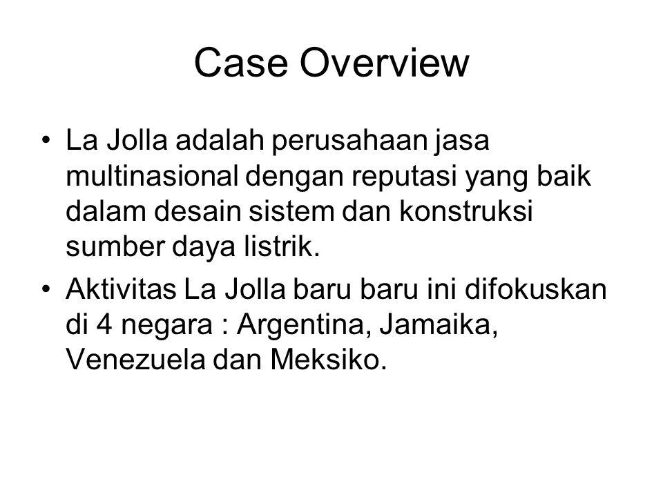 Case Overview La Jolla adalah perusahaan jasa multinasional dengan reputasi yang baik dalam desain sistem dan konstruksi sumber daya listrik.
