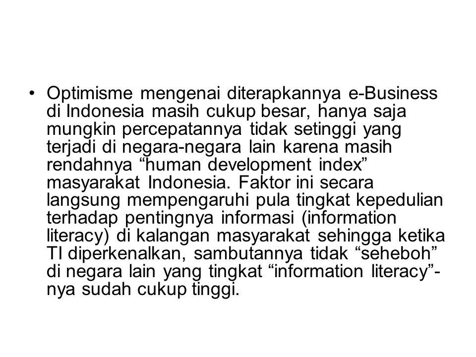Optimisme mengenai diterapkannya e-Business di Indonesia masih cukup besar, hanya saja mungkin percepatannya tidak setinggi yang terjadi di negara-negara lain karena masih rendahnya human development index masyarakat Indonesia.