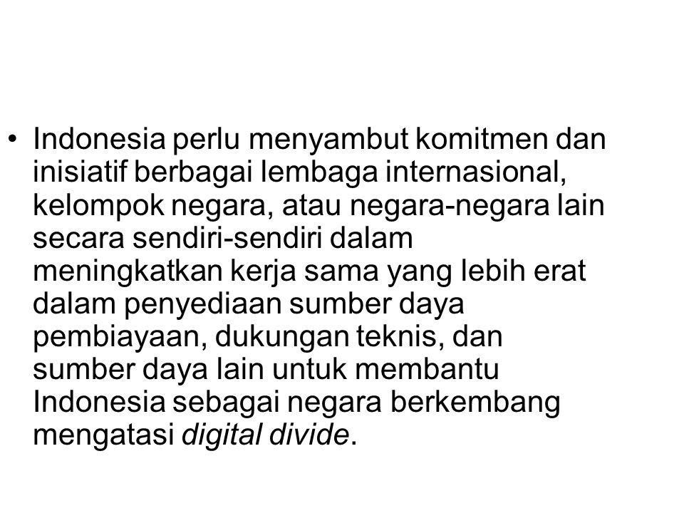 Indonesia perlu menyambut komitmen dan inisiatif berbagai lembaga internasional, kelompok negara, atau negara-negara lain secara sendiri-sendiri dalam meningkatkan kerja sama yang lebih erat dalam penyediaan sumber daya pembiayaan, dukungan teknis, dan sumber daya lain untuk membantu Indonesia sebagai negara berkembang mengatasi digital divide.