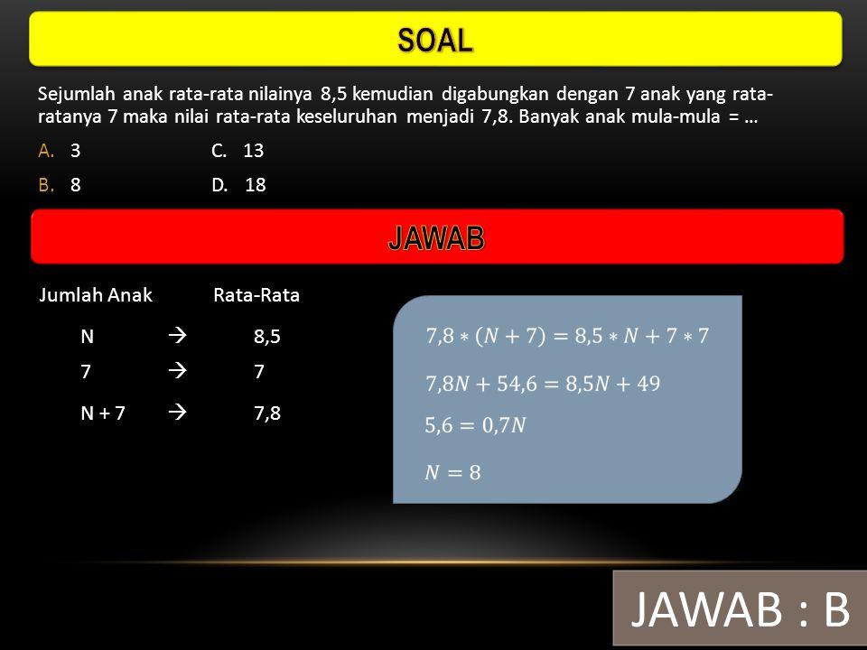JAWAB : B SOAL JAWAB Jumlah Anak Rata-Rata N  8,5 7  7 N + 7  7,8