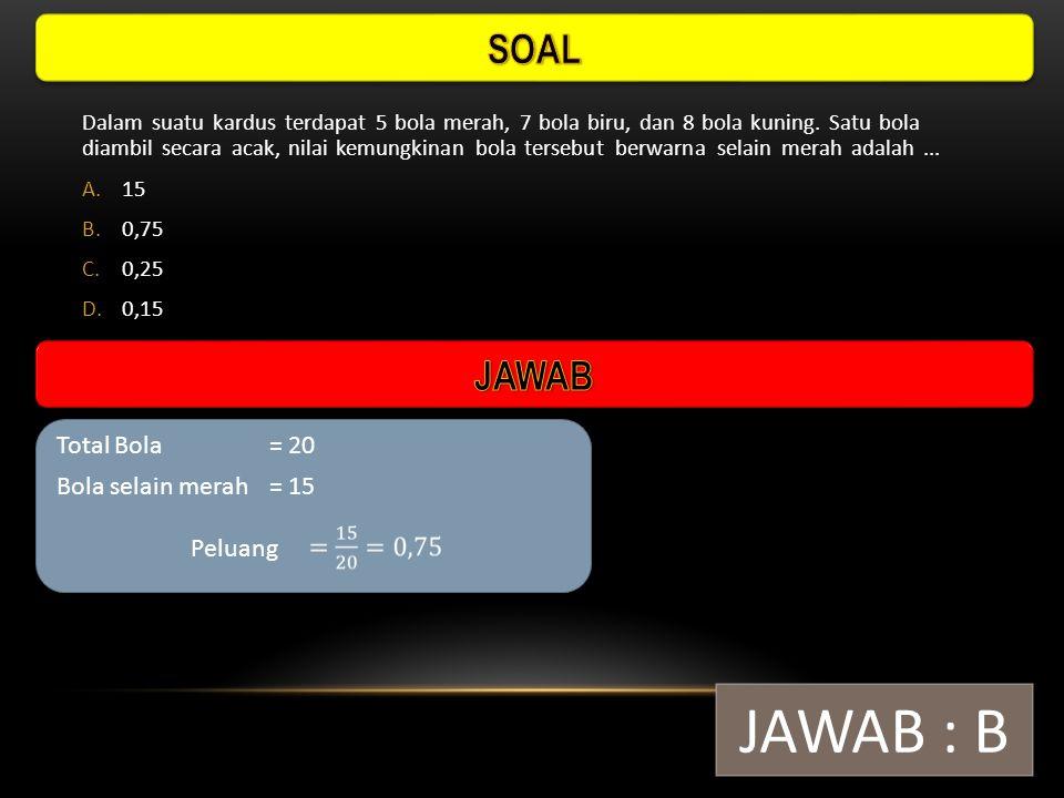 JAWAB : B SOAL JAWAB Total Bola = 20 Bola selain merah = 15 Peluang