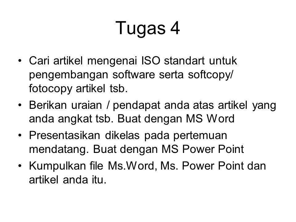 Tugas 4 Cari artikel mengenai ISO standart untuk pengembangan software serta softcopy/ fotocopy artikel tsb.