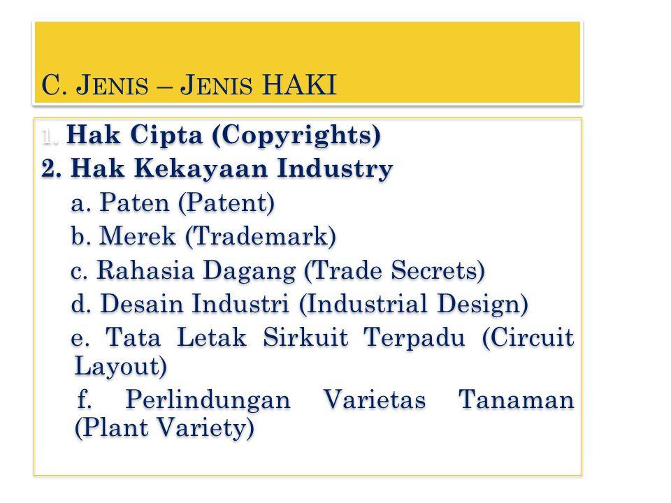 C. Jenis – Jenis HAKI 2. Hak Kekayaan Industry a. Paten (Patent)