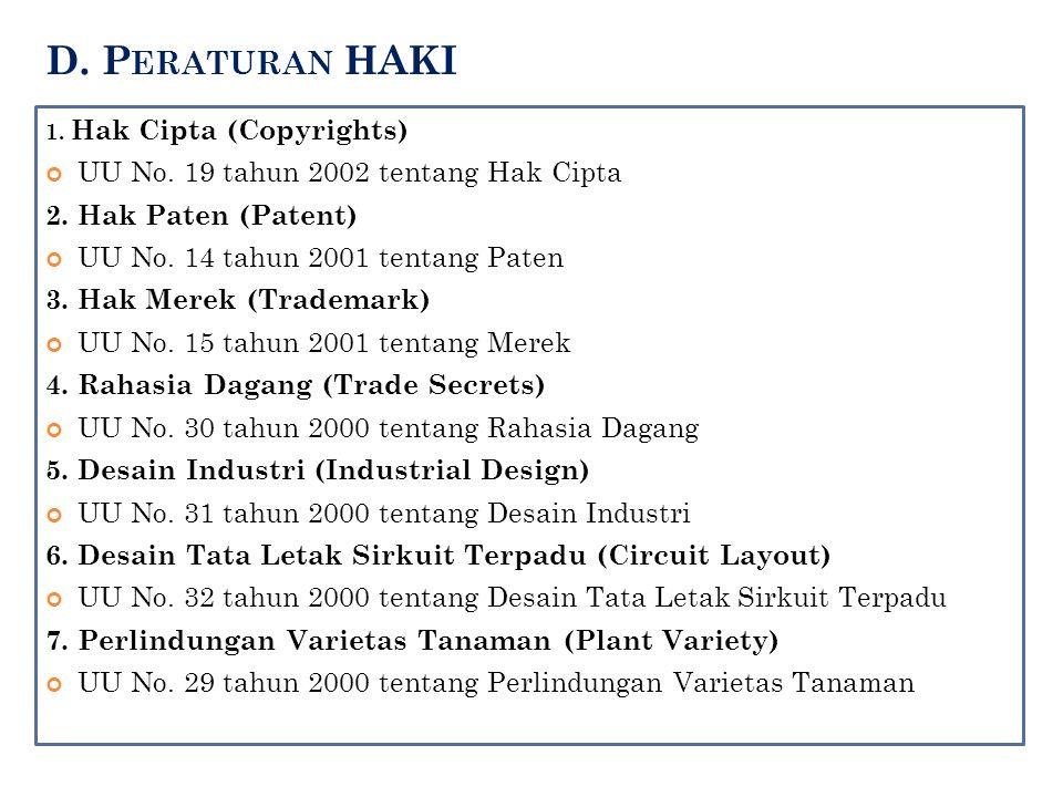D. Peraturan HAKI UU No. 19 tahun 2002 tentang Hak Cipta