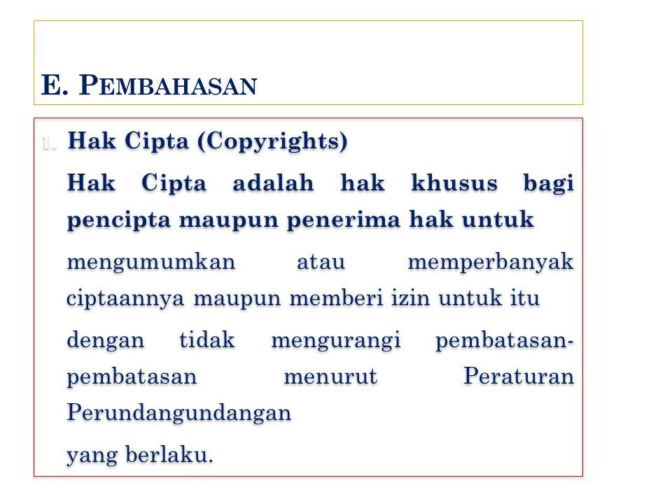 E. Pembahasan 1. Hak Cipta (Copyrights) Hak Cipta adalah hak khusus bagi pencipta maupun penerima hak untuk.