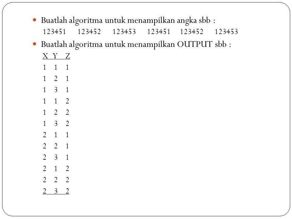 Buatlah algoritma untuk menampilkan angka sbb :
