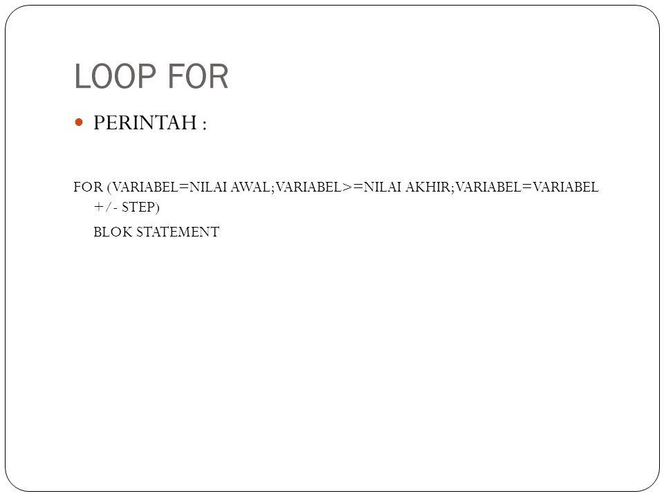 LOOP FOR PERINTAH : FOR (VARIABEL=NILAI AWAL;VARIABEL>=NILAI AKHIR;VARIABEL=VARIABEL +/- STEP) BLOK STATEMENT.