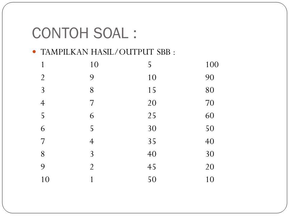 CONTOH SOAL : TAMPILKAN HASIL/OUTPUT SBB : 1 10 5 100 2 9 10 90