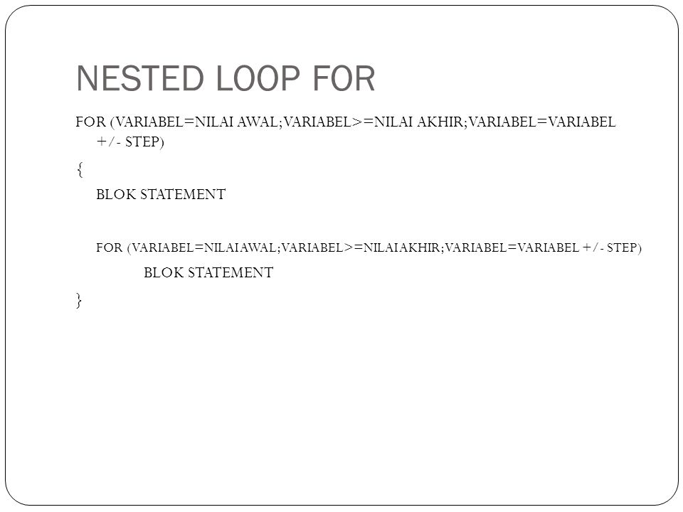 NESTED LOOP FOR
