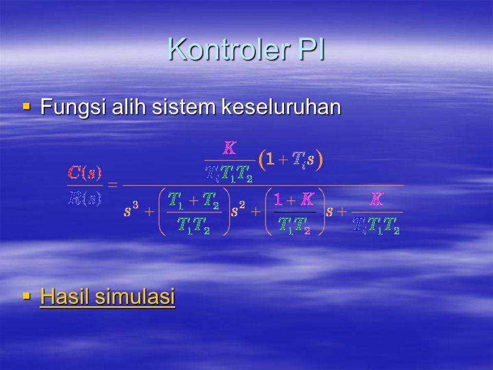 Kontroler PI Fungsi alih sistem keseluruhan Hasil simulasi