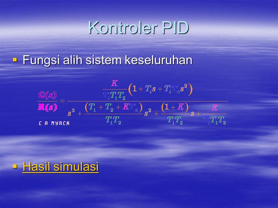 Kontroler PID Fungsi alih sistem keseluruhan Hasil simulasi