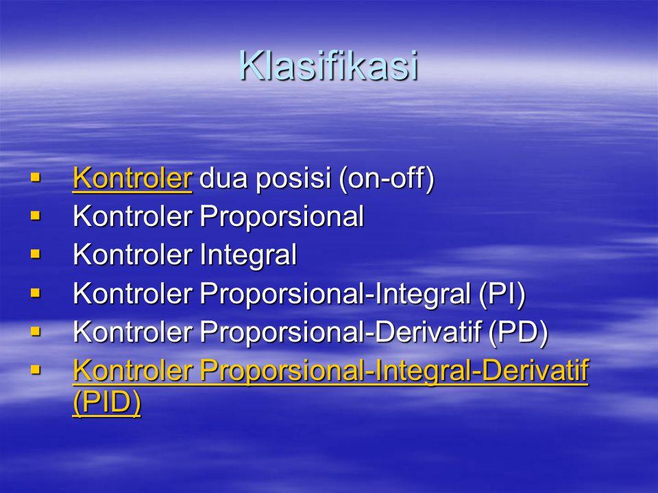 Klasifikasi Kontroler dua posisi (on-off) Kontroler Proporsional