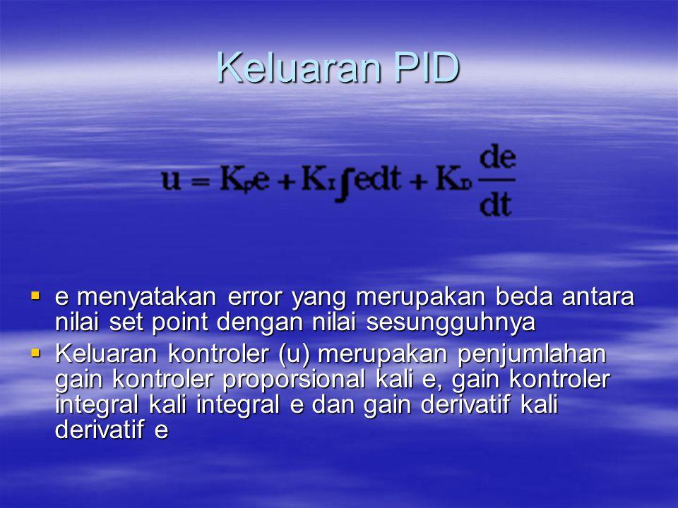 Keluaran PID e menyatakan error yang merupakan beda antara nilai set point dengan nilai sesungguhnya.