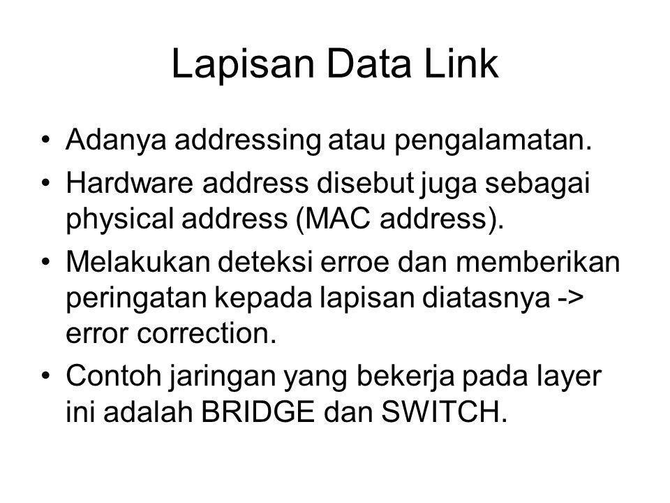 Lapisan Data Link Adanya addressing atau pengalamatan.