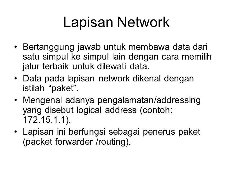 Lapisan Network Bertanggung jawab untuk membawa data dari satu simpul ke simpul lain dengan cara memilih jalur terbaik untuk dilewati data.