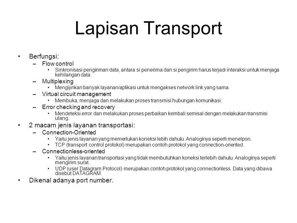 Lapisan Transport Berfungsi: 2 macam jenis layanan transportasi: