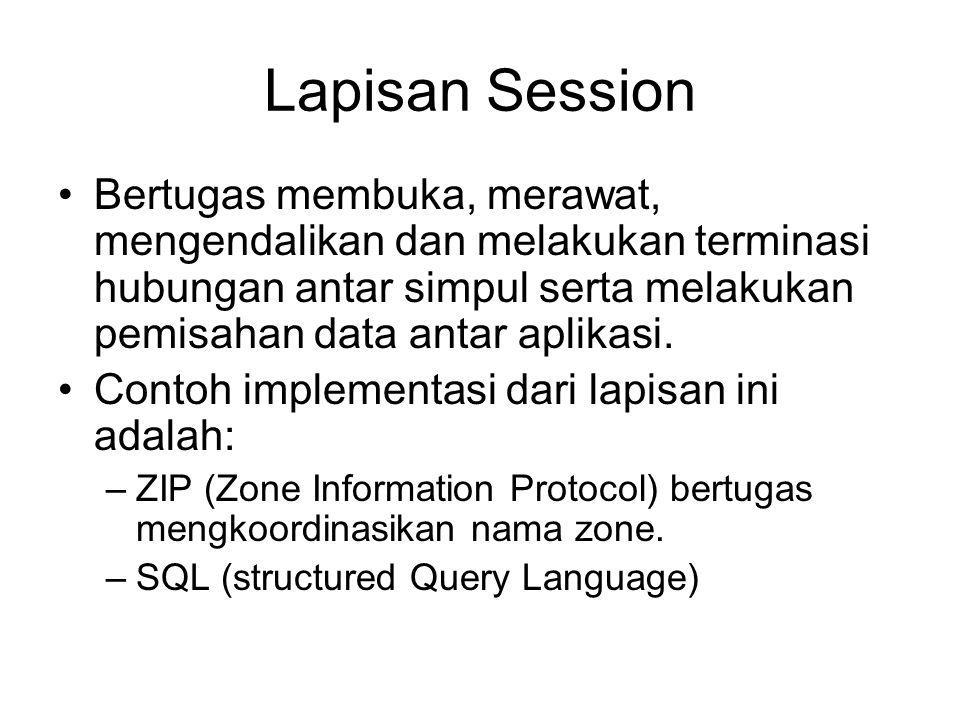 Lapisan Session Bertugas membuka, merawat, mengendalikan dan melakukan terminasi hubungan antar simpul serta melakukan pemisahan data antar aplikasi.