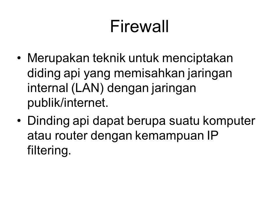 Firewall Merupakan teknik untuk menciptakan diding api yang memisahkan jaringan internal (LAN) dengan jaringan publik/internet.