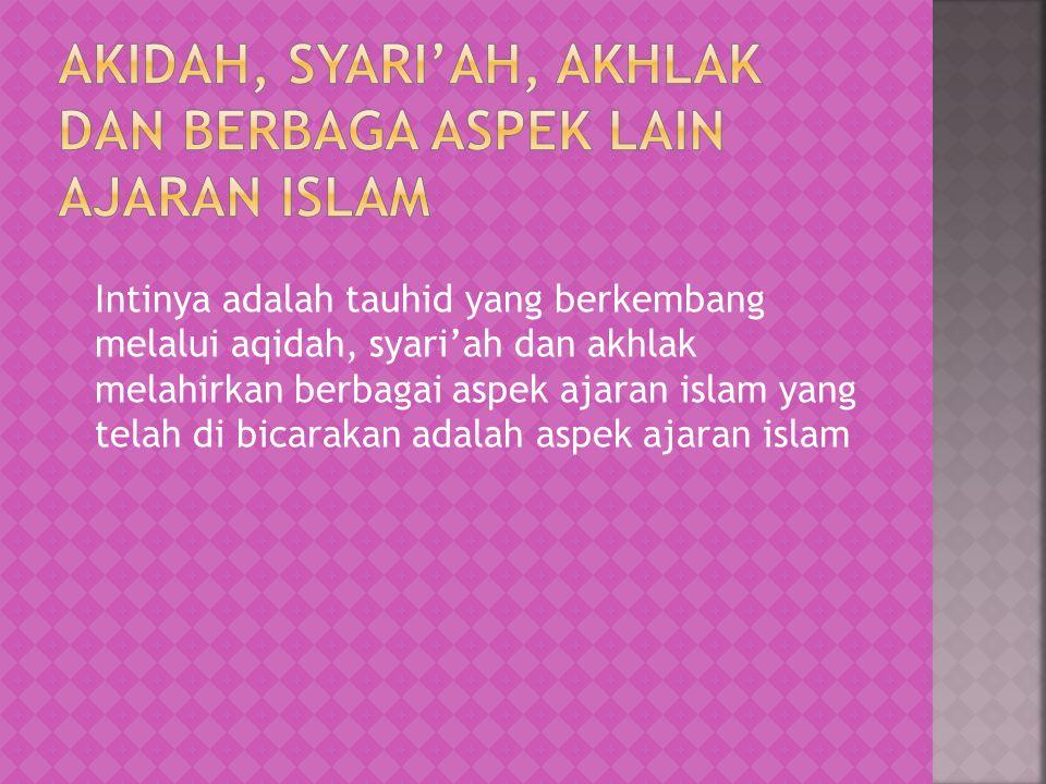 Akidah, syari'ah, akhlak dan berbaga aspek lain ajaran islam