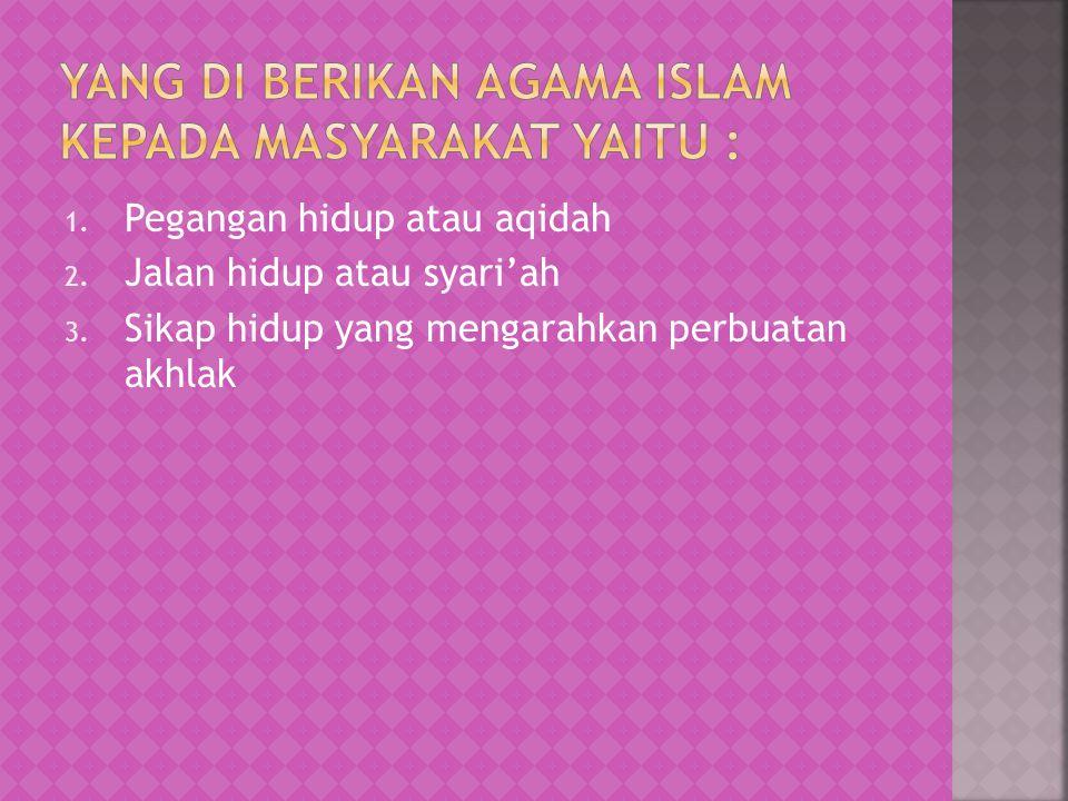 Yang di berikan agama islam kepada masyarakat yaitu :