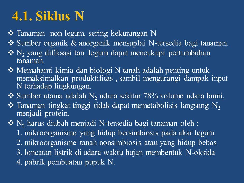 4.1. Siklus N Tanaman non legum, sering kekurangan N