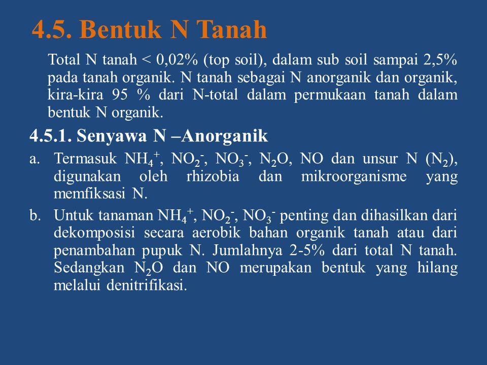 4.5. Bentuk N Tanah 4.5.1. Senyawa N –Anorganik