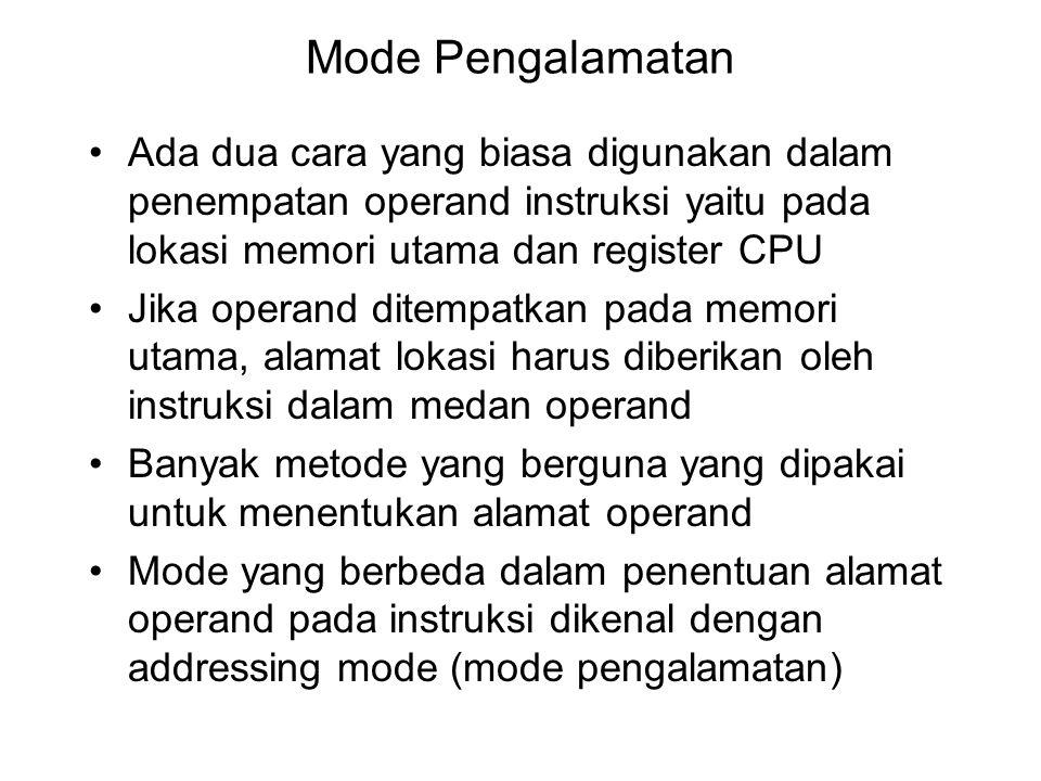 Mode Pengalamatan Ada dua cara yang biasa digunakan dalam penempatan operand instruksi yaitu pada lokasi memori utama dan register CPU.