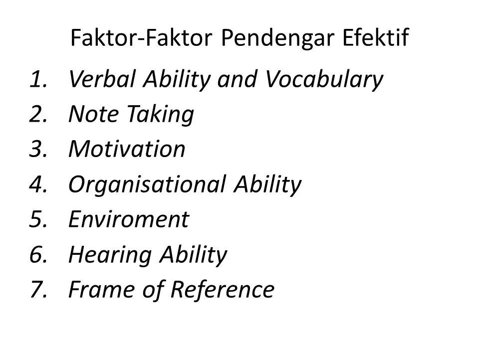 Faktor-Faktor Pendengar Efektif