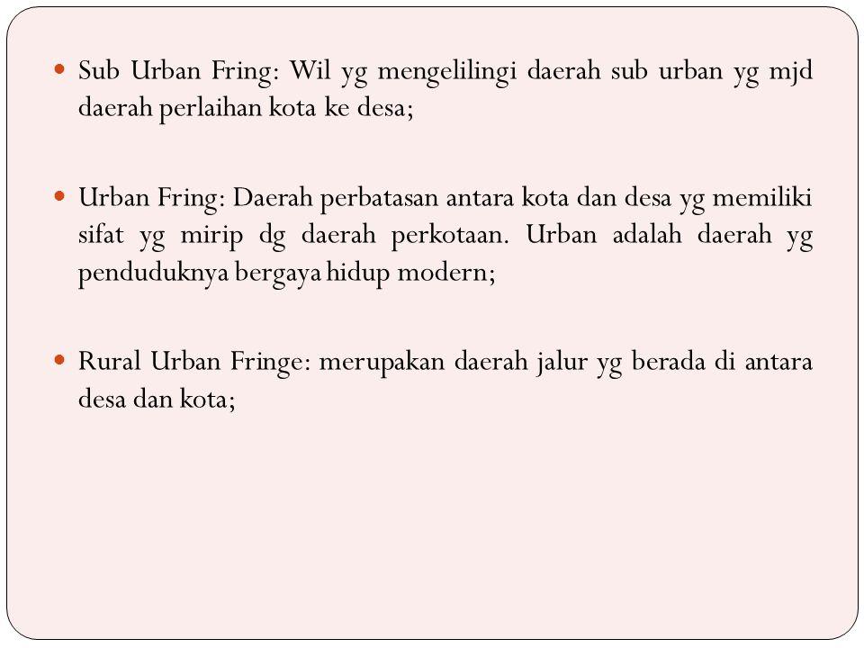 Sub Urban Fring: Wil yg mengelilingi daerah sub urban yg mjd daerah perlaihan kota ke desa;