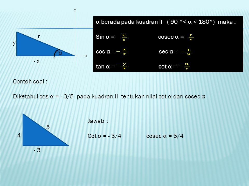 α berada pada kuadran II ( 90 °< α < 180°) maka :