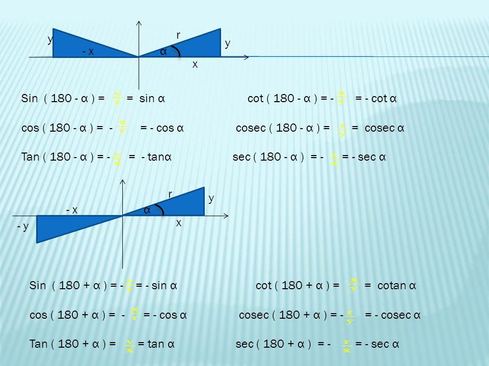r y. y. - x. α. x. Sin ( 180 - α ) = = sin α cot ( 180 - α ) = - = - cot α.