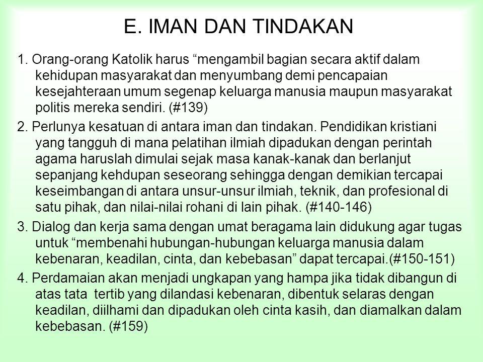 E. IMAN DAN TINDAKAN