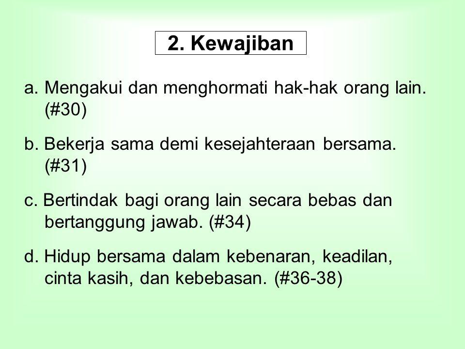 2. Kewajiban Mengakui dan menghormati hak-hak orang lain. (#30)